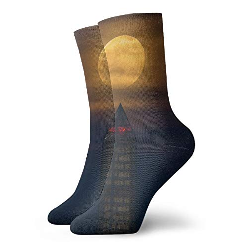 (YIEOFH Moon Full Night Washington Monument Novelty Boys Girls Fashion Cute Funny Casual Art Crew Socks)