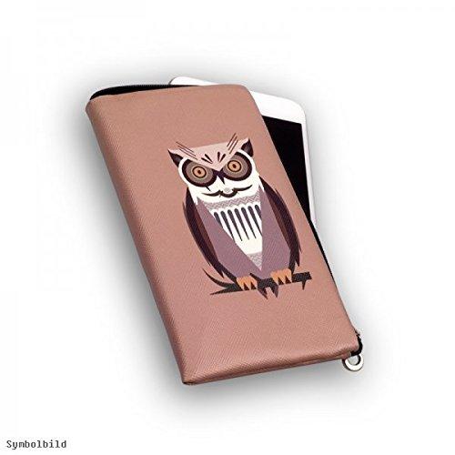 Chiusura lampo Custodia Softcase Mokka con motivo gufo adatto per Apple iPhone 6Plus Cover Custodia Slim Case Cover Mokka