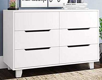 Amazon.com: Chester Drawers - White Wood Six Drawers Double ...