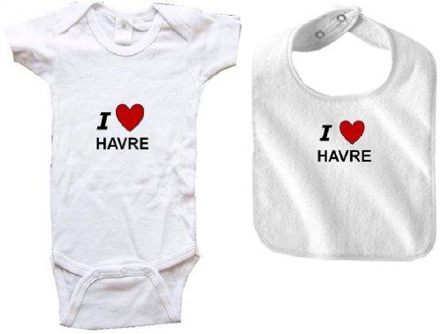 I LOVE HAVRE - HAVRE BABY - 2 Piece Baby-Set - City-series - White Baby One Piece Bodysuit / Baby T-shirt and White Bib - size Newborn (0-6M) Battle 4 Piece Body