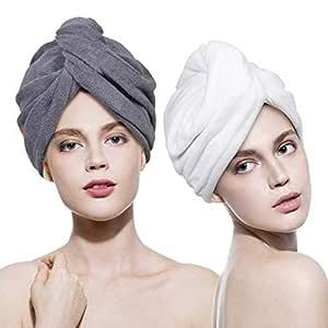 2PCS Rapid Fast Drying Hair Absorbent Towel Turban Wrap Soft Shower Bath Cap Hat