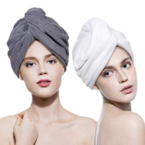 - Lovife 2 Pack Hair Drying Towel Wrap Turban Microfiber Head Towels with Button Quick Dry Magic Hat Shower Bath Wrapped Cap for Long Curly Hair Anti-Frizz Women Girls Mom Daughter (White and grey)
