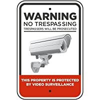 Warning No Trespassing 24 Hour Video Audio Surveillance Reflective Sign
