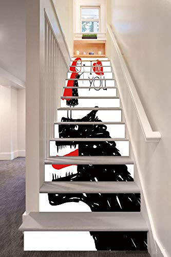 anselc05ls Quirky Decor 3D Stair Riser Stickers Removable Wall Murals Stickers,Little Red Riding Hood Loves Bad Horrible Wolf Plot Twist Fairytale Art,for Home Decor 39.3