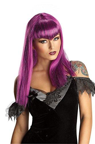 [Sexy Purple Glitter Vamp Wig Long Bangs Women Adult Costume Accessory Vampiress] (Glitter Wigs)