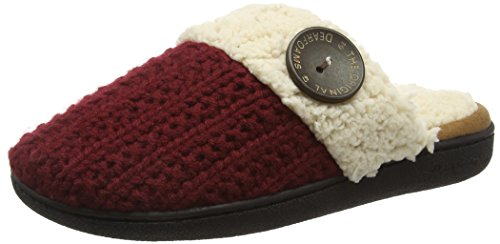 Dearfoams Scuff Toe Femme 10604 Oatmeal Memory White with Red Foam Heathe Closed Knit Pantoufles Off Cabernet gSqrwxpg