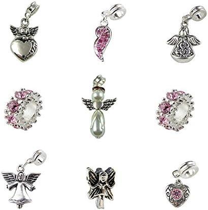 8 NEW Dancing Angel Charms plaqué argent ailes Mixte perles pendentifs 14x21mm