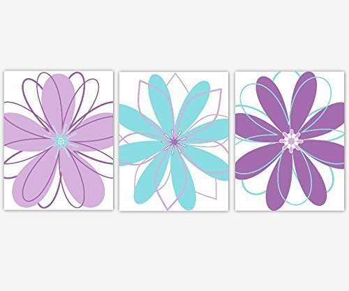 Amazon.com: Girl Nursery Wall Art Modern Floral Purple Lavender Teal ...