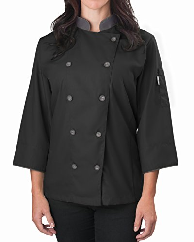 KNG Womens ¾ Sleeve Active Chef Coat, Black with Slate Accent, M
