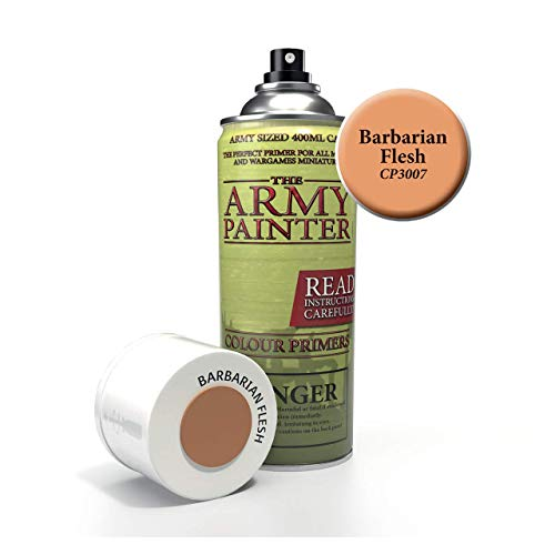 The Army Painter Color Primer, Barbarian Flesh, 400 ml, 13.5 oz - Acrylic Spray Undercoat for Miniature Painting  ()