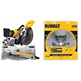 DEWALT DW717 10 in. Double-Bevel Sliding Compound Miter Saw with DEWALT DW3128 Series 20 12-Inch 80 Tooth ATB Thin Kerf Crosscutting Miter Saw Blade with 1-Inch Arbor
