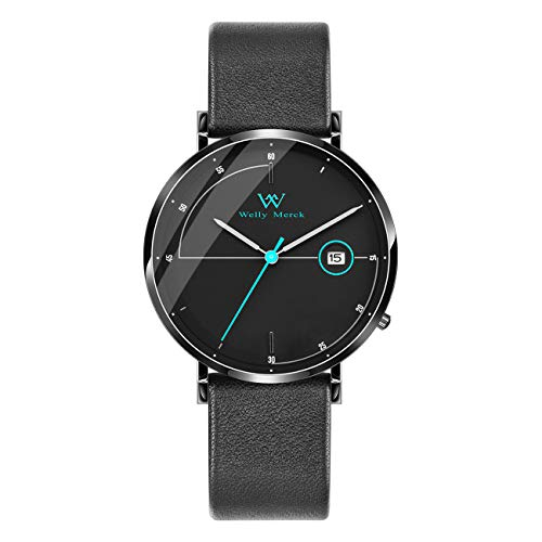 (Welly Merck Men's Watch Swiss Quartz Movement Luxury Minimalist Watch Blue Hand Date Display 20mm Black Width Leather Interchangeable Strap, 5 ATM Water Resistant)