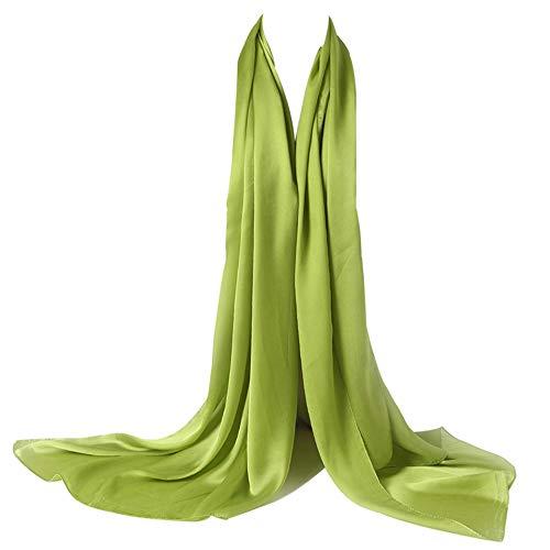 Bellonesc Silk Scarf 100% silk Long Lightweight Sunscreen Shawls for Women (apple green)