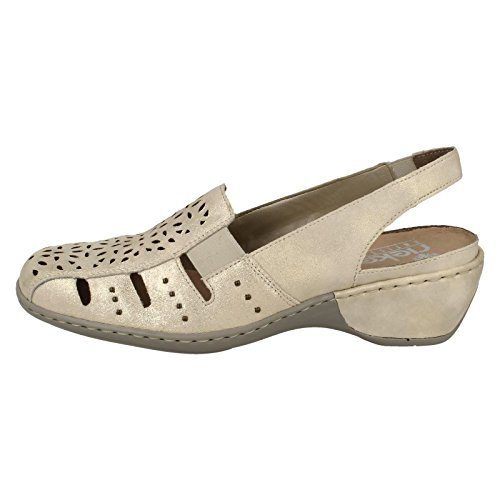 Heel Rieker Detailed Beige Shoe Shimmery Slip On Womens Low qqXPwz