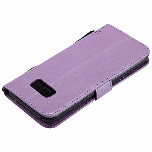 Yiizy Samsung Galaxy S8+ / Galaxy S8 Plus Custodia Cover, Albero e Gatti Goffratura Design Sottile Flip Portafoglio PU Pelle Cuoio Copertura Shell Case Slot Schede Cavalletto Stile Libro Bumper Protet
