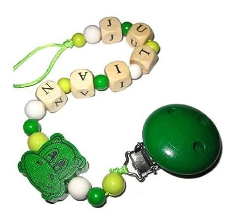 Cadena para chupete con nombre * Verde * Happy Hippo: Amazon.es: Bebé