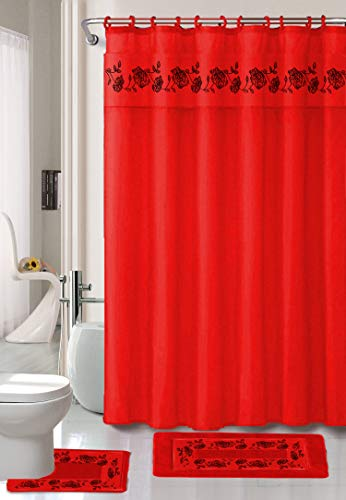 Luxury Home Collection 18 Pc Bath Rug Set Embroidery Non-Slip Bathroom Rug Mats And Rug Contour And Shower Curtain And Towels And Rings Hooks And Towels New (Red) (Set Shower Curtain Red)