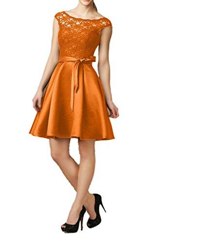 Abendkleider Knielang mit Partykleider Satin Spitze Guertel Kurz Damen Cocktailkleider Schwarz Kleider Charmant Orange 0wRqYaIw