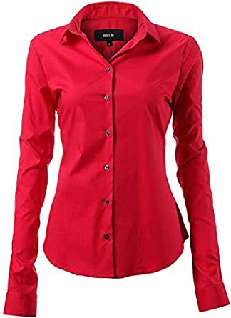 Harrms Button Down Shirts for Women Formal Work Wear Simple Red Shirts Size 10