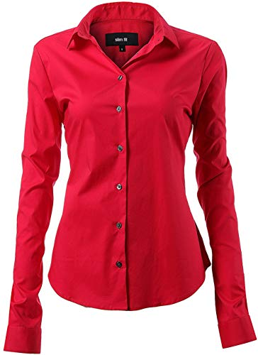 Button Up Long Sleeve Blouse - Button Down Shirts for Women Formal Work Wear Simple Red Shirts Size 24