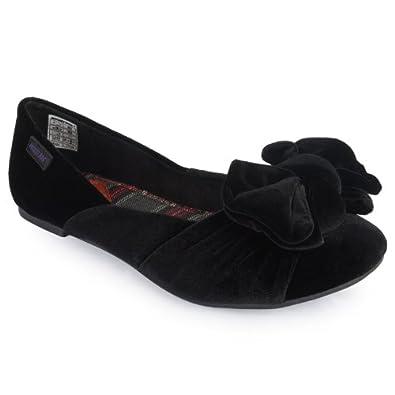 77bacbc188 Rocket Dog 52E Womens Black Velvet Bow Ballet Flats Ladies Flat Shoes Size  10 US