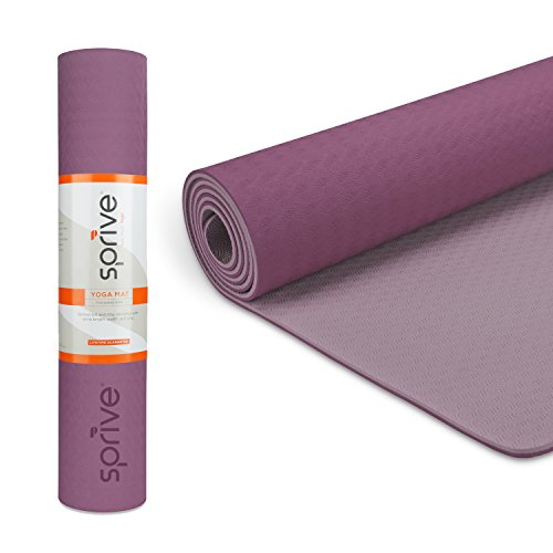Sprive Dual Color TPE Mat (6mm) for Yoga, Pilates, Burpee, Core Exercises, Health, Fitness, Interval Training. Extra length and width...  yoga mat zenergy | Zenergy Yoga Class 41dnaUELSLL