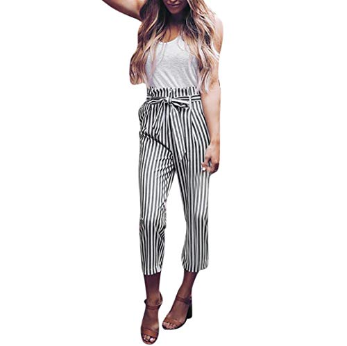 iTLOTL Women High Waist Harem Pants Women Bowtie Elastic Waist Stripe Casual Feet - Chef Pants Checked