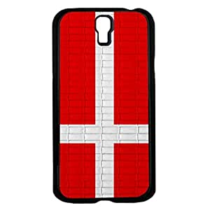 Denmark Flag with White Scandanavian Cross and Red Brick Pattern Background Hard Snap on Phone Case Cover Samsung Galaxy S4 I9500