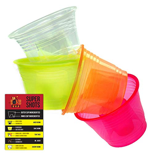 Da Bomb Cups 150 Pack Disposable Jager Bomb Cups. Measure Two Part Bomber Shot Glasses for Great Taste Every Time! Throw a Great Party with Recipe Card & 4 Colors to Impress Guests! (Plastic Cups With Shot Glass Built In)