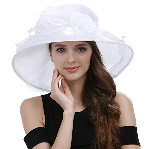 Janey&Rubbins Women's Kentucky Derby Racing Horse Hat Church Wedding Dress Party Occasion Cap (S5310-White)