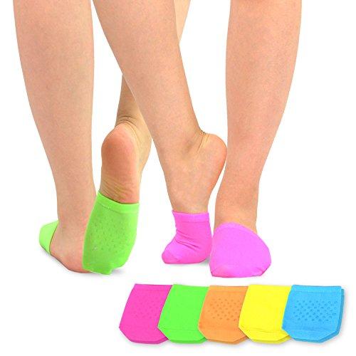 Womens Neon Liner Socks - TeeHee Womens Seamless Toe Topper Liner Socks 5-Pack with Non-Skid Bottom (Neon)