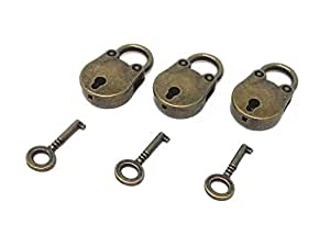 Honbay 3pcs Vintage Antique Style Mini Archaize Padlocks Key Lock With Key