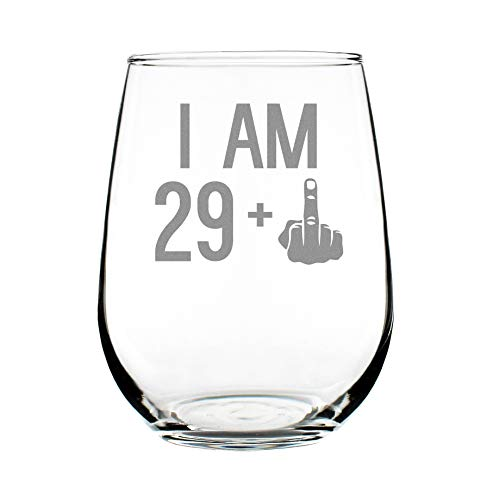 29 + One Middle Finger | 30th Birthday Stemless Wine Glass for Women & Men | Cute Funny Wine Gift Idea | Unique Personalized Bday Glasses for Best Friend Turning 30 | Drinking Party Decoration