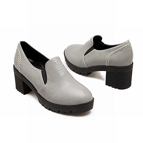 Show Shine Womens Chic Retro Platform Mid Chunky Heel Bungee Shoes Grey kfjUYBj
