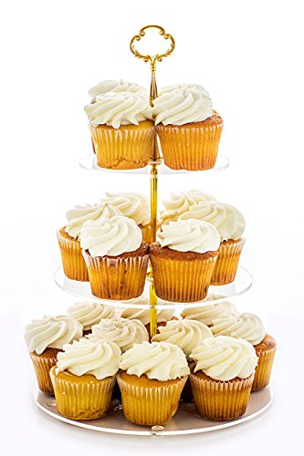 Jusalpha 3-tier Acrylic Round Cake Stand-Cupcake Stand- Dessert Stand-tea Party Serving Platter- Party Supply (Gold Version 2) Gold Flat Cake Plate