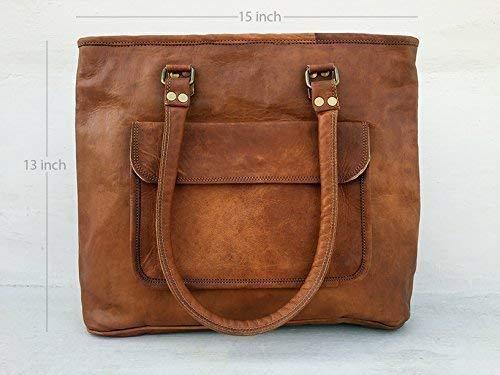 90b085c4754ec Amazon.com  Pascado Womens genuine leather top handle tote purse bag 15  inch with zipper Tan color  Handmade