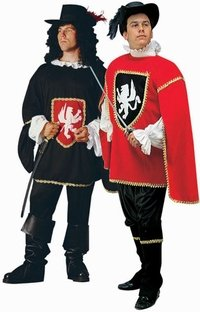 Adult (St. 36-40 Jacket) BLACK Muskateer Costume! (Hat, Wig, Sword and Boots not included)