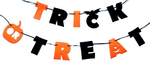 Trick Or Treat Halloween Party Garland Decorations Banners for Indoors Or Outdoors (Halloween Bunting Diy)