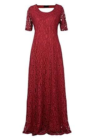 Nemidor Women's Full Lace Plus Size Wedding Maxi Dress (12W, Wine)