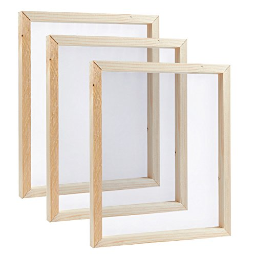 Screen Printing Frame - 3-Pack Mesh Screen with Natural Wooden Frame, Print T-Shirts, Image Transfer, 10 x 12 x 0.75 Inches ()