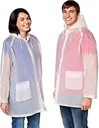 Rain Poncho Jacket (1 2 6 10 Pack) Men's Women's Raincoat Ventilation Anti Odor Two Pockets & Hood