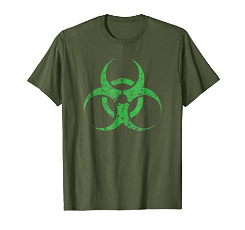 Mens Green Biohazard Symbol Funny Halloween T-Shirt Large Olive -