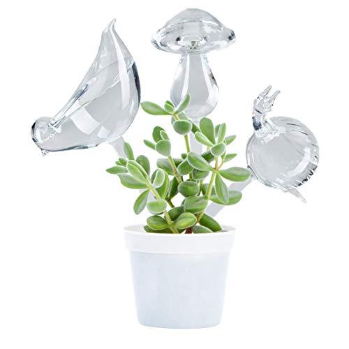 Bird Glass Waterer - OYSIR 3 Pack Plant Waterer Self Watering Globes,Bird Shape Hand Blown Transparent Mini Durable Clear Glass Aqua Bulbs