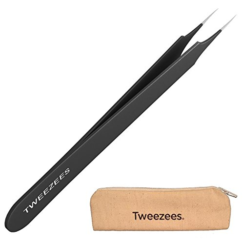 Tweezees Professional Pointed Ingrown Hair Splinter Tip Tweezers (Black) | Precision Stainless Steel | Extra Sharp and Perfectly Aligned for Ingrown Hair Treatment & Splinter Removal For Men and Women