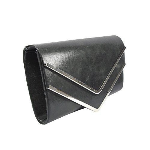 CG-Borsa da donna, per abiti da sera, frizione-Borsa a tracolla in due colori, colore: nero
