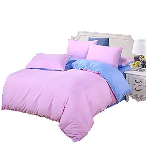 (Nova 4pcs Children Solid Candy Color Bed Sheet Set Cotton Material Double Color Blocking Design Twin Full Queen Size No Comforter (Twin, Blue&Pink))