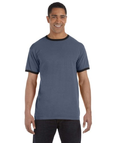 Authentic Pigment 1946 Unisex Adult 5.6 oz. Pigment-Dyed Ringer T-Shirt Denim/Black - 1946 Denim