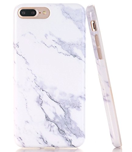 iPhone 7 Plus Case, iPhone 8 Plus Case White Marble Marble BAISRKE Slim Flexible Soft Silicone Bumper Shockproof Gel TPU Rubber Glossy Skin Cover Case for iPhone 8 Plus & iPhone 7 Plus