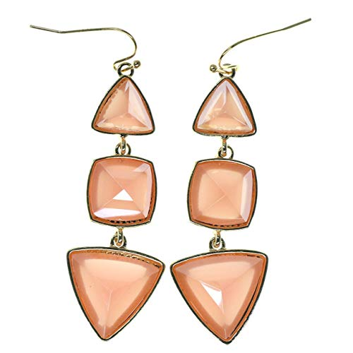 Gold-Tone Drop Dangle Earrings With Coral Colored Faceted Accents For Women TME302