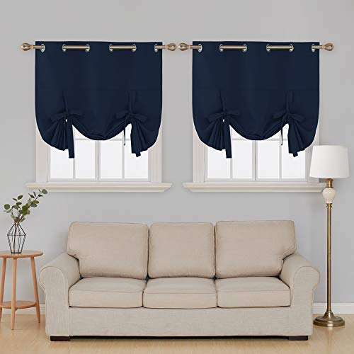 Deconovo Balloon Window Shades Grommet Blackout Curtains Tie